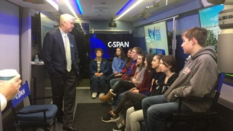 Upgraded C-SPAN Bus visits Mt. Lebanon High School and Steel Valley High School