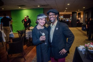 Couple dressed in 1950s clothing at movie screening
